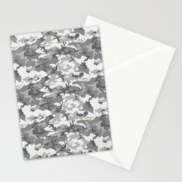 Military Camouflage Pattern - Gray White Stationery Cards