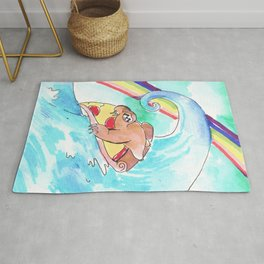 surfing sloth pizza rainbow Rug