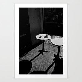 Two sunny tables (B&W) Art Print