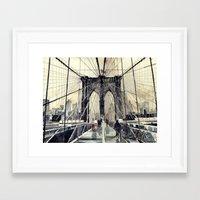 bridge Framed Art Prints featuring Brooklyn Bridge by takmaj