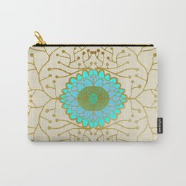 Turquoise and Gold Sunflower Carry-All Pouch
