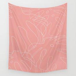 Monstera No2 Pink Wall Tapestry