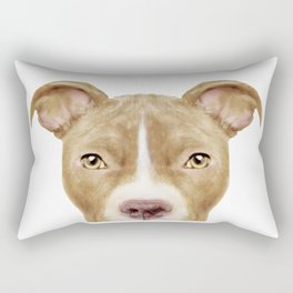 Pit Bull light Brown 2,Dog illustration original painting print Rectangular Pillow