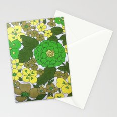 Retro floral sheets greens Stationery Cards