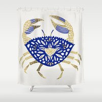 crab Shower Curtains featuring Crab – Navy & Gold by Cat Coquillette