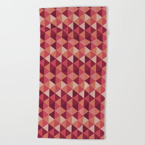 Red Mosaic  Beach Towel