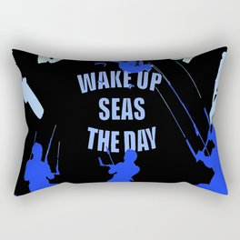 Wake Up Seas The Day Kiteboarder Royal Blue Rectangular Pillow