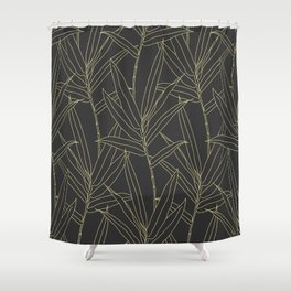 Elegant bamboo foliage gold strokes design Shower Curtain