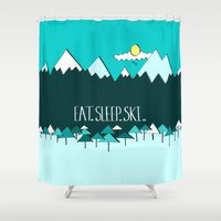 ski Shower Curtains featuring Eat. Sleep. Ski. - Blue by Natasha Phillips