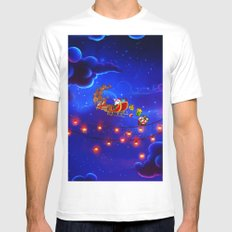 santa in the sky that blue White MEDIUM Mens Fitted Tee