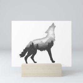 Double Exposure Wild Bear Stipple Art Animal Wildlife Wilderness Mini Art Print