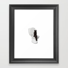 Toilet Cat Framed Art Print