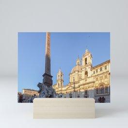 Sant Agnese Church at dawn in the Piazza Navona - Rome, Italy Mini Art Print