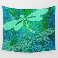 dragonfly Wall Tapestries featuring Dragonfly  by Saundra Myles