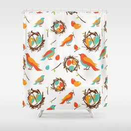 Seamless pattern with birds Shower Curtain