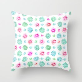 Blush pink teal modern trendy summer cactus floral Throw Pillow
