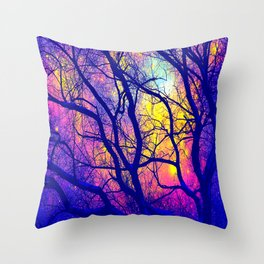 Black Trees Deep Bright & Colorful Space Throw Pillow