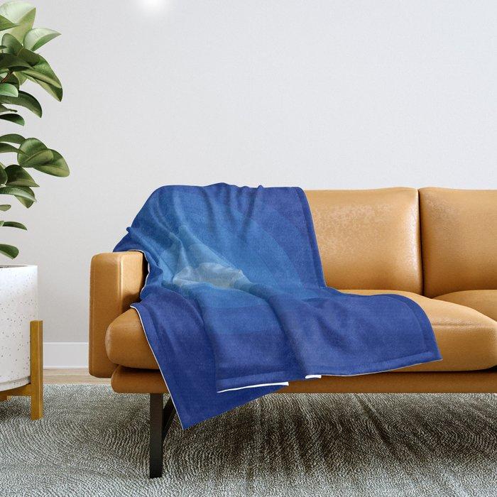 Blue Retro Bullseye Throw Blanket