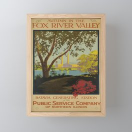 retro autumn in the fox river valley   batavia generating station of the public service company of northern illinois. 1926  Framed Mini Art Print