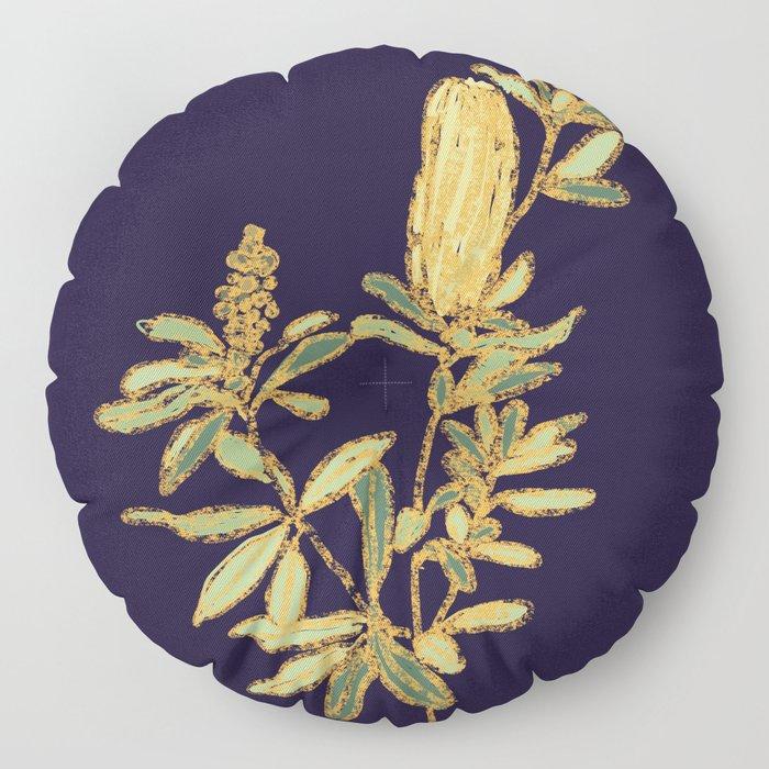 Banksia on Indigo Blue Botanical Illustration Floor Pillow
