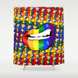 LGBTQ Rainbow Lips Snarl Shower Curtain