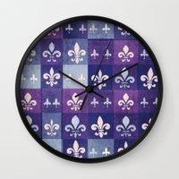 fleur de lis Wall Clocks featuring Fleur de lis #1 by Camille
