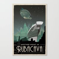grim fandango Canvas Prints featuring Grim Fandango Vintage Travel Poster - Rubacava by David MacKenzie