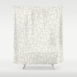 Beige / Light Warm Gray Retro Geometric Print Shower Curtain