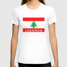 Lebanon country flag name text T-shirt