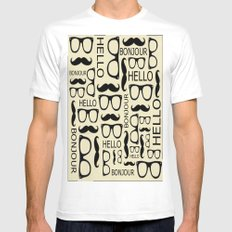 Hello, Bonjour Mens Fitted Tee White MEDIUM