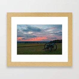 Gettysburg Cannon Sunset Framed Art Print
