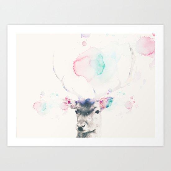 Pastel watercolor deer -Scandinavian art Art Print