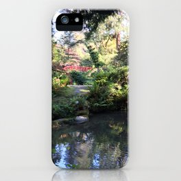 Kubota Garden pond with red bridge iPhone Case