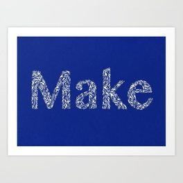 Make: Cut Paper Typography in Blue Art Print