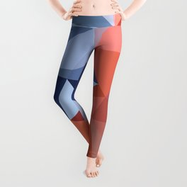Geometric  bullfinch burd art Pink gray Leggings