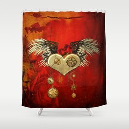 Wonderful steampunk heart with wings Shower Curtain