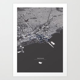 Chicago City Map I Art Print