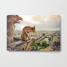 Gargoyles in Paris, France, Basilica of Notre Dame Metal Print