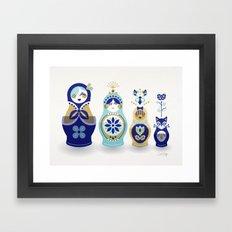 Russian Nesting Dolls – Blue & Gold Framed Art Print