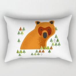 Big Bjørn, Big Nowegian Bear and pine tree wood pattern Rectangular Pillow