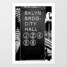 Brooklyn Bridge Subway Sign Art Print