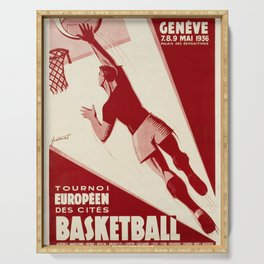 retro vintage geneve eme tournoi europeen des cites basketball poster Serving Tray