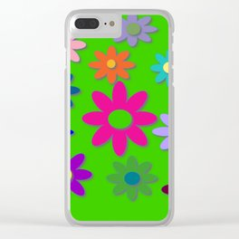 Flower Power - Green Background, Bright Colors, Fun Flower Power Desig Clear iPhone Case