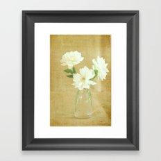 Burlap and Roses Framed Art Print