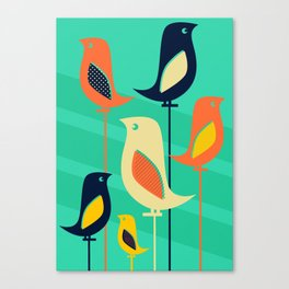 Mid Century Birds Canvas Print