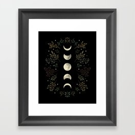 Moonlight Garden - Olive Green Framed Art Print