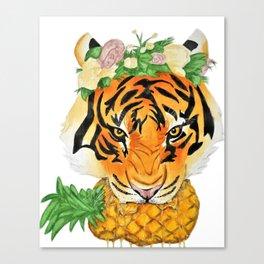 Tiger Biting Pineapple Canvas Print