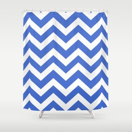 Han blue - blue color - Zigzag Chevron Pattern Shower Curtain