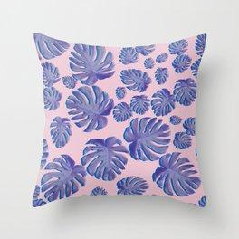 Monstera pink Throw Pillow