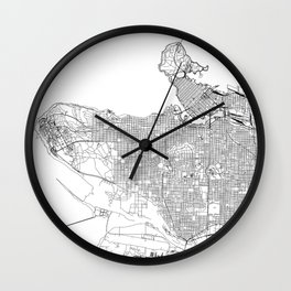 Vancouver White Map Wall Clock
